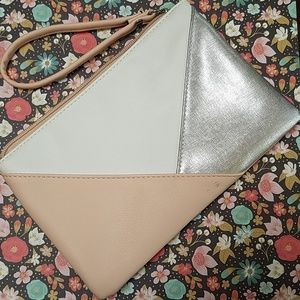 Pale pink and solver geometric wristlet